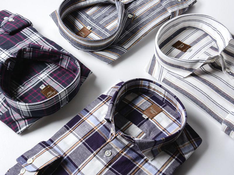 コットンリネンチェックシャツ(メンズ)