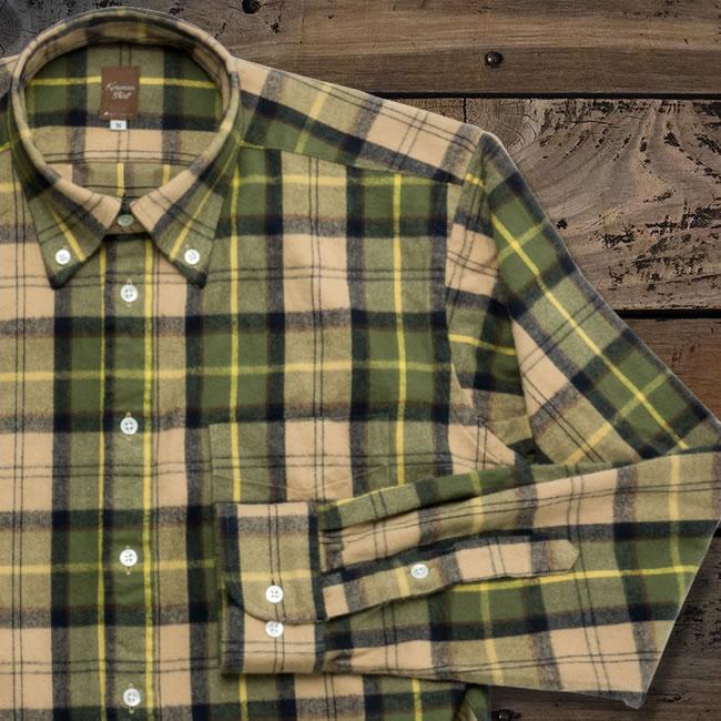メンズカジュアルシャツ 綿100 ボタンダウン グリーン系マルチカラー起毛チェック(洗い加工) K13KZB283}