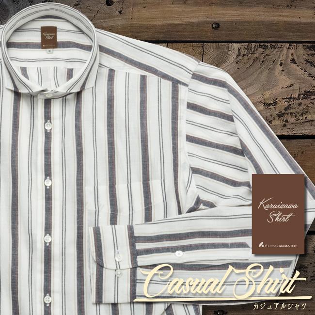 メンズカジュアルシャツ ホワイト×ブラック×ブラウン濃淡ストライプ ボックスプリーツ&ループ カッタウェイ 洗い加工 K13KZW230}