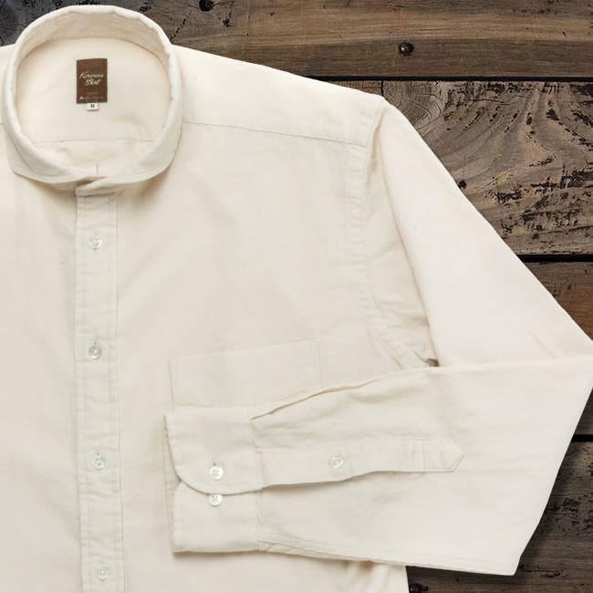 メンズカジュアルシャツ 綿100  カッタウェイ オフホワイトコーデュロイ(洗い加工) K13KZW234}