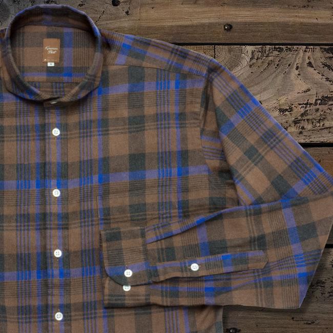 メンズカジュアルシャツ カッタウェイ  ブラウン×ブラック×ブルー起毛チェック(洗い加工) K13KZW236}