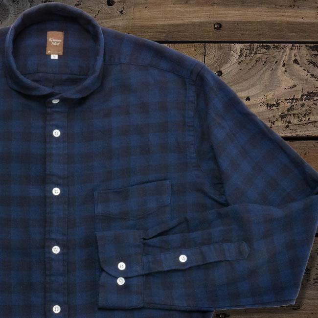 メンズカジュアルシャツ 綿100  カッタウェイ ネイビー×ブルー起毛ヘリンボーンチェック(洗い加工) K13KZW239}