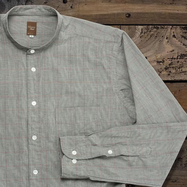 メンズカジュアルシャツ スタンド ボックスプリーツ&ループ スタンド 洗い加工 グレー系×ホワイト×レッドグレンチェック K13KZZS09}