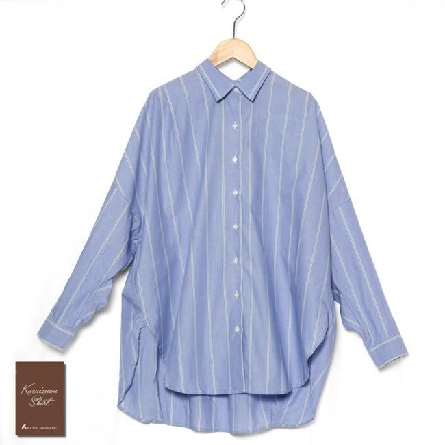 レディース コクーンシルエットオーバーシャツ レギュラー衿 綿100 ブルー×ホワイトストライプ K35KZE053}
